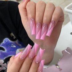 Long Square Acrylic Nails, French Acrylic Nails, Acrylic Nail Tips, Bling Acrylic Nails, Cute Acrylic Nail Designs, Rhinestone Nails, Pink Nails, Exotic Nail Designs, Pink Acrylics