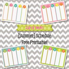 Life of Verde's : Free Printable: { Summer } Schedule : Four color choices!