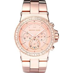 Michael Kors MK5412 rose gold baguette bezel watch (€295) ❤ liked on Polyvore featuring jewelry, watches, pink gold watches, rose gold wrist watch, red gold jewelry, crown jewelry and michael kors