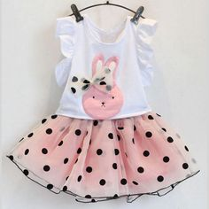 Very cute pink dress, polka dot clothing set for your little girls.