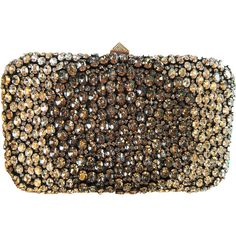 Valentino Garavani Swarovski Crystal-Embellished Clutch ($1,800) ❤ liked on Polyvore featuring bags, handbags, clutches, silver, crossbody purses, silver handbags, brown purse, chain handbags and valentino purses