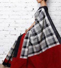 Black & Red Handwoven Ikat Cotton Saree