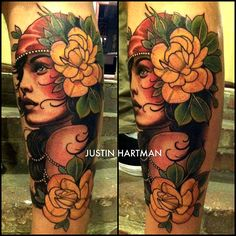 Love the realistic face paired with the more abstract flowers and leaves - Justin Hartman