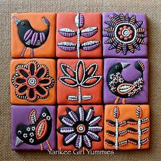 Fall tile cookies from last year. Inspired by Jocelyn Proust ceramic tiles. #cookies #fall #flowers