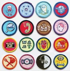 Alternative Scouting merit badges by artist Luke Drozd http://lukedrozd.bigcartel.com/category/badges-pins