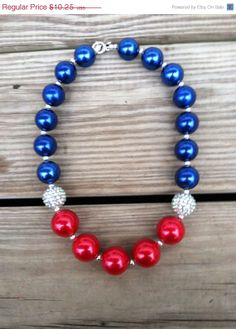 HUGE SALE New York Giants Football Chunky Bubblegum Necklace