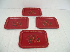 Antique Miniature Red Metal Trays MultiColor by DivineOrders