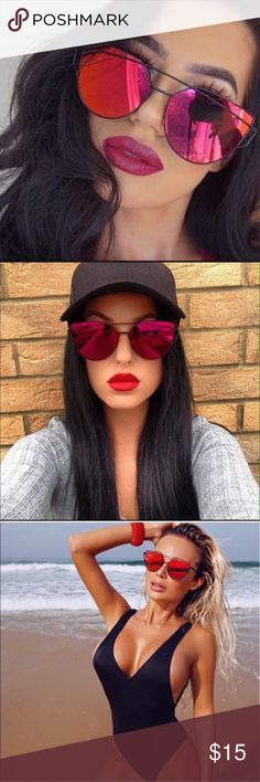 🔥London Sunglasses🔥 Tinted red reflective mirrored glass makes these sunglasses unique and sexy. With thin yet strong black frames these glasses are perfect for tannin at the beach or hitting the mall with friends. High quality lenses.  ✔️15% off 3 or more items when you bundle  ❌No trades Accessories Sunglasses