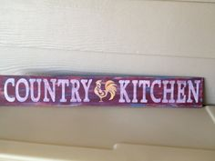 Country Kitchen Sign, hand painted wood 4 x 24 great decor or gift on Etsy, $30.00
