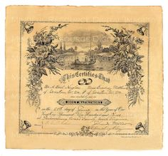 Vintage S Marriage Certificate Poster  Marriage Certificate