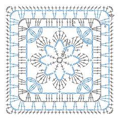 Crochet granny square chart