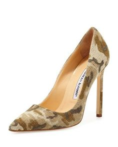 BB Linen 115mm Pump, Camo (Made to Order) by Manolo Blahnik at Neiman Marcus.