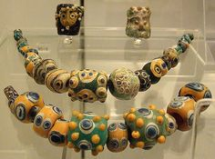 Phoenician glass beads by Kotomicreations, Tribal Jewelry, Beaded Jewelry, Jewellery, Textile Jewelry, Antique Necklace, Antique Jewelry, African Trade Beads, Ancient Jewelry, Ancient Artifacts