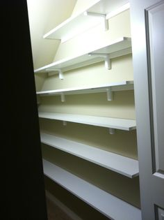 My new pantry we built in the closet under the stairs.