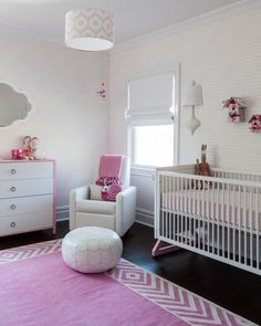 Modern Pink Baby Girl Nursery - love the boho chic feel in this room!