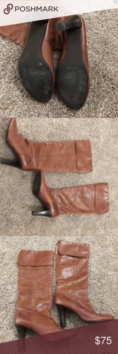 Steve Madden leather knee high brown boots heels Steve Madden leather knee high brown boots heels EUC excellent used condition worn once Steve Madden Shoes Heeled Boots