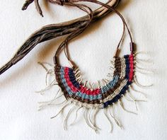 Folk Ethno Bohemian Necklace Tribal Collar por totalhandmadeD