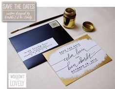 Wedding save the dates, white gold and black, gilded edges, metallic invites, gold fleck, hand painted save the dates, Wouldn't it be Lovely.