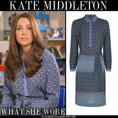 Kate in geometric print with slate blue trim