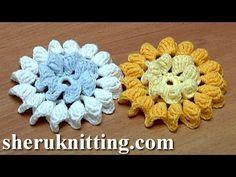 Crochet Flower How To With Zig-Zag Petals and Picots Tutorial 33 Λουλουδι με την Πλεξη Κροκοδειλος - YouTube