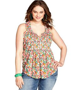 American Rag Plus Size Top, Sleeveless Printed Pleated