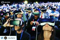 #Repost @reuters with @repostapp  People wear Samsung Gear VR devices as they attend the launching ceremony of the new Samsung S7 and S7 edge smartphones during the Mobile World Congress in Barcelona Spain February 21 2016. REUTERS/Albert Gea  #spain #barcelona #vr #virtualreality #samsung #tech #technology #mobile by stylosajjat - Shop VR at VirtualRealityDen.com