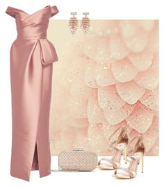 """A Hint of Pink"" by parnett ❤ liked on Polyvore featuring Monique Lhuillier, Kenneth Jay Lane and Oscar de la Renta"