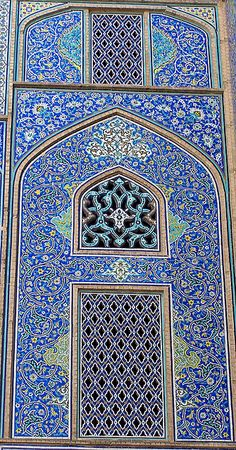 Blue Persian tile work,Sheik Lotfollah Mosque,Isfahan, Iran.