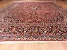AB9162 10x13 Kashan Persian Hand Knotted Wool Red Navy 10'0x13'0 1250 Rug