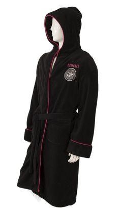 Hey Ho Black//Pink Hooded Fleece Dressing Gown Bathrobe Official The Ramones