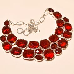 FACETED MOZAMBIQUE GARNET MARVELOUS .925 SILVER NECKLACE #Handmade #Choker