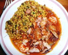 fregola sarda with seafood and bottarga