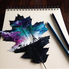 Paris on a leaf By @awirazka16  _ Keep tagging #instartist_ on your drawings for a feature!