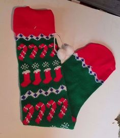 Vintage Knitted Christmas Stocking Red green candy cane Pom Poms Extra Long 28