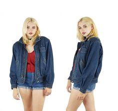 Denim 80s Sherpa Lined Bomber Jean Jacket Vintage Grunge Jean