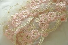 Delicate Floral Embroidery lace trim in Light Blue, Pink or Gold , 2 yards