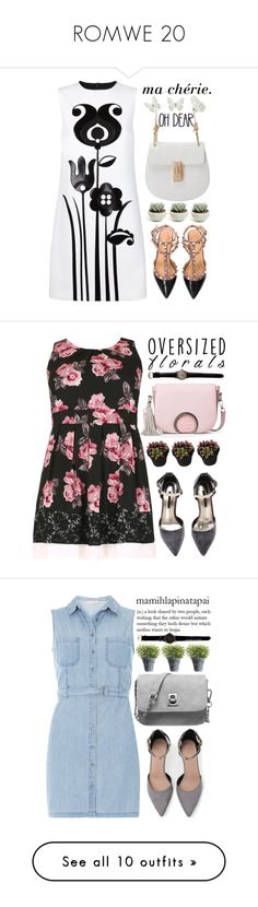 """""""ROMWE 20"""" by m-zineta ❤ liked on Polyvore featuring Victoria, Victoria Beckham, outfit, romwe, stylish, whihtecombo, Samya, florals, oversized, Dorothy Perkins and Crate and Barrel"""
