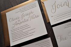 Gold Metallic Letterpress Wedding Invitations from Jupiter & Juno Letter Press. So fancy!