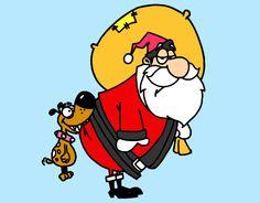 Dibujo de Perro mordiendo a Papa Noel pintado y coloreado por ...