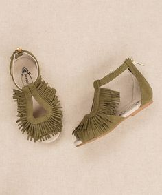 Another great find on #zulily! Olive Fringe Delia Sandals & Crystal Hair Clip - Kids #zulilyfinds