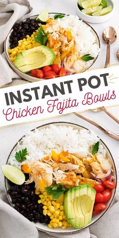 These healthy Instant Pot Chicken Fajita Bowls are a fantastic recipe for a family friendly dinner or easy meal prep lunches. They are made entirely in one pot with PIP rice! #InstantPotChicken #InstantPotFajitas #PIPrice