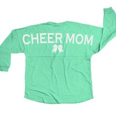 "ChalkTalkSPORTS Cheerleading Statement Jersey Shirt Cheer Mom. 100% cotton jersey knit. Available in multiple sizes. Oversized construction. Rounded bottom hem. - NOTE: Model measures 35"" around the bust, is 5'7"" tall and is wearing a size extra small. Official ChalkTalkSPORTS Brand Product - Passionate about sports and the products we make."