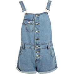 Boohoo Loula Denim Loose Fit Boyfriend Short Dungarees ($26) ❤ liked on Polyvore featuring jumpsuits, rompers, shorts, dresses, overalls, bottoms, bib overalls, short overalls, blue rompers and short romper