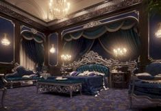 European Style Luxury Carved Bedroom Set - Top and Best Classic Furniture and Classical interior Design Italian Companies master bedroom bedroom ideas for Men Royal Bedroom, Bedroom Sets, Blue Bedroom, Indian Bedroom, Royal Purple Bedrooms, Bedroom Simple, Bedding Sets, Dream Rooms, Dream Bedroom