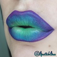 "Colorful ombré Lip art, using @meltcosmetics lipsticks in ""blitzed,"" ""by starlight,"" ""dgaf,"" & some neon green ""key lime"" nyx lipstick. Instagram: @lipsticklina"