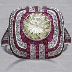 A Gorgeous Art deco diamond & ruby ring.