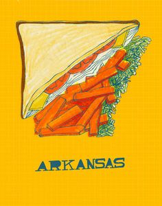 "Arkansas imagined as half a Turkey sandwich with fries and cole slaw from the ""United Plates"" series by artist John Holcomb.    Visit www.shorthandedst... for more United Plates, and www.discoverameri... for travel ideas in Arkansas!  © John Holcomb"
