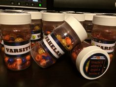 Softball Shakers: Used temporary baby bottles, beads, glitter, ribbon, printed logos, laminating sheets, super sticky tape & glue