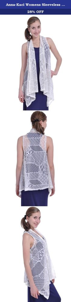 Anna-Kaci Womens Sleeveless Shawl Cardigan Crochet Open Front Bikini Cover Up Vest. Get an edgy look with this open vest cardigan. This piece features open front, crochet lace, and pointed hem. Pair this vest with a tank style dress and ankle boots to finish the look.