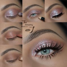 Glitter Makeup Tutorial, Glitter Eye Makeup, Sparkly Makeup, Cosmetics Glitter, Pageant Makeup, Prom Makeup, Bridal Makeup, Wedding Makeup, Makeup 101